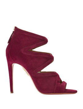 Red Cutout Velvet Booties by Aquazzura