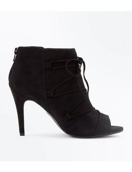 Black Comfort Flex Suedette Lace Up Peep Toes by New Look