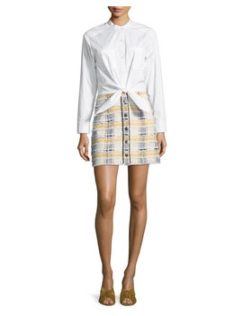 Aurelia Long Sleeve Combo Dress With Poplin Shirt & Tweed Skirt by Veronica Beard