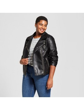 Women's Plus Size Faux Leather Moto Jacket   Ava & Viv™ Black by Ava & Viv™