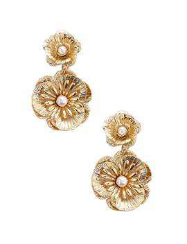 Floral Faux Pearl Drop Earrings by Forever 21