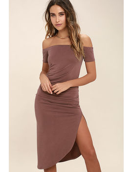 In A Ruche Washed Burgundy Off The Shoulder Midi Dress by Lulus