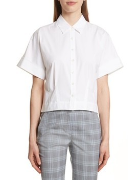 Stretch Cotton Crop Button Down Shirt by Theory