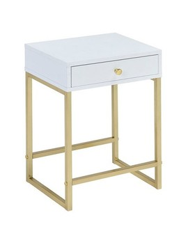 End Table White Brass by Acme Furniture