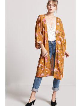 Longline Floral Print Kimono by F21 Contemporary