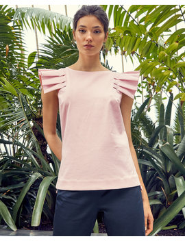 Frill Shoulder Cotton Top by Ted Baker