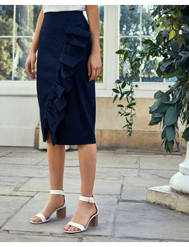 Ruffle Detail Cotton Pencil Skirt by Ted Baker