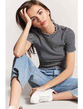 Mock Neck Stripe Top by F21 Contemporary