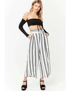 Striped High Rise Culottes by F21 Contemporary