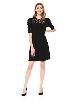 Rebecca Taylor Women's Short Sleeve Crepe Lace Dress by Rebecca Taylor