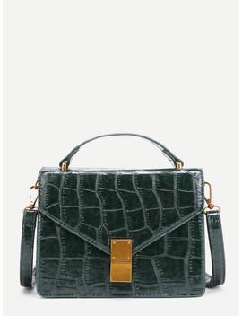 Crocodile Print Flap Pu Crossbody Bag by Sheinside