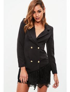 Black Tassel Lace Hem Blazer Dress by Missguided