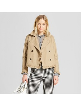 Women's Cropped Ruffle Trench Coat   Who What Wear™ Tan by Who What Wear