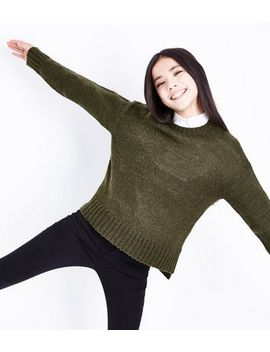 Teens Khaki Crew Neck Jumper by New Look