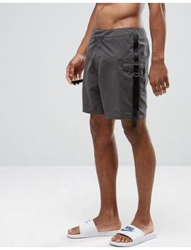 Asos Swim Shorts In Grey With Cargo Straps In Mid Length by Asos