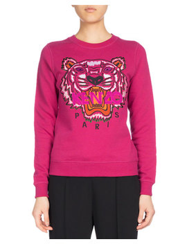 Tiger Classic Pullover Sweatshirt, Fuchsia by Kenzo