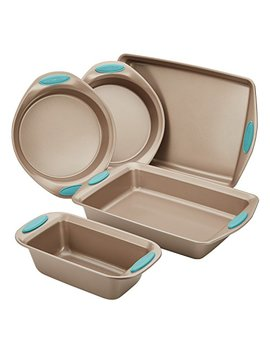 Rachael Ray Nonstick Bakeware 5 Piece Set, Latte Brown With Agave Blue Handle Grips by Rachael Ray