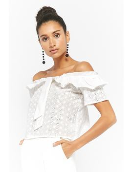 Off The Shoulder Eyelet Crop Top by Forever 21