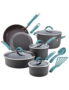 Rachael Ray Cucina 87641 12 Piece Cookware Set, Gray, Agave Blue Handles by Rachael Ray