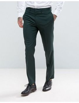 Asos Slim Suit Trousers In Green by Asos