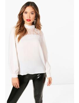 Emy High Neck Lace Panel Blouse by Boohoo