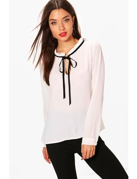 Alexis Tie Neck Chiffon Blouse by Boohoo
