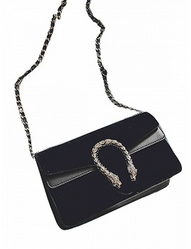 Black Velvet Cross Body Chain Shoulder Bag by Choies
