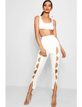 Tessa Woven Pearl Detail Slim Trouser by Boohoo