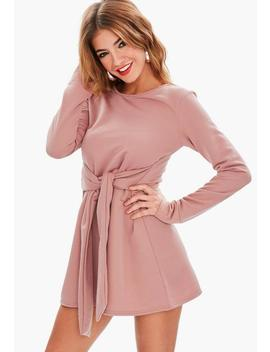 Pink Tie Waist Sweater Dress by Missguided