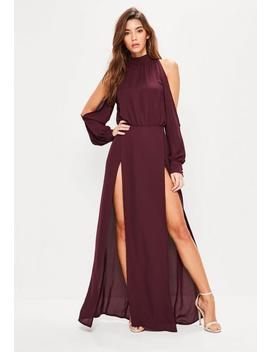 Burgundy Split Front And Sleeve Maxi Dress by Missguided