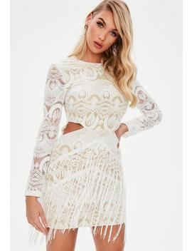 White Lace Cut Out Tassel Dress by Missguided
