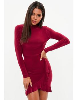 Burgundy Open Back Frill Dress by Missguided