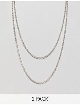 Icon Brand Short & Long Chain Necklace In Antique Silver In 2 Pack Exclusive To Asos by Icon Brand