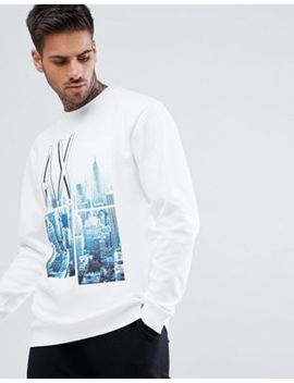 Armani Exchange City Print Crew Neck Sweat In White by Armani Exchange