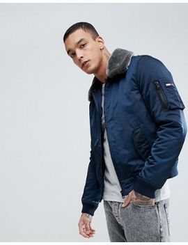 Tommy Jeans Justice Bomber Detachable Faux Fur Collar In Navy by Hilfiger Denim