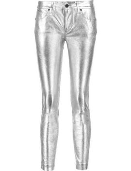 Prince Metallic Textured Leather Skinny Pants by Rta