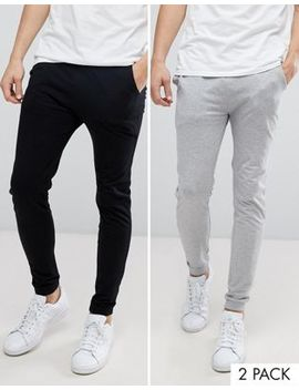 Asos Lightweight Skinny Joggers 2 Pack Black/ Grey Marl Save by Asos