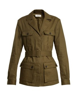 Belted Cotton Blend Jacket by Saint Laurent