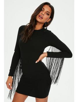 Black Tassel Long Sleeve Bodycon Mini Dress by Missguided