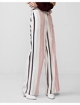 High Waisted Stripe Tie Waist Wide Leg Dress Pant by Express