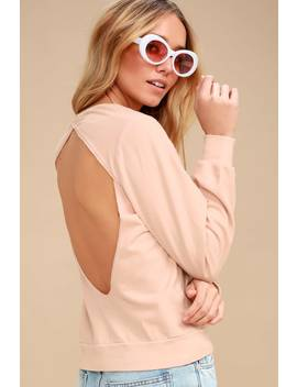 Rosalind Blush Pink Backless Sweatshirt by Project Social T