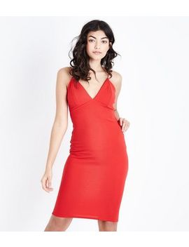 Red Crepe Strappy Bodycon Midi Dress by New Look
