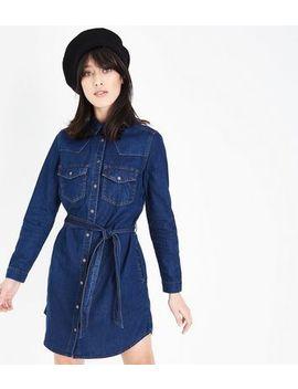 Blue Belted Denim Shirt Dress by New Look