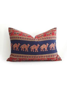 boho-pillow,-batik-pillow,-bohemian-pillow-covers,-camel-pillows,-indian,-indigo,-throw-pillows,-navy-blue-red,-14x20,-lumbar,-cushion-cover by etsy