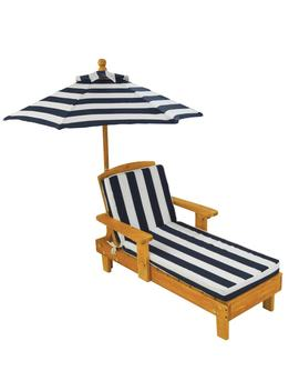 Kid's Blue/ White Striped Outdoor Chaise With Umbrella by Kid Kraft
