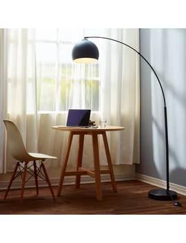 Versanora Arquer Black Marble Arc Floor Lamp by Teamson