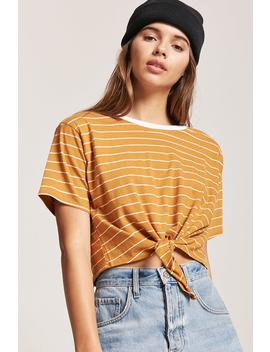 Tie Front Stripe Tee by F21 Contemporary