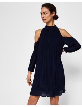 Pleated Cold Shoulder Dress by Ted Baker