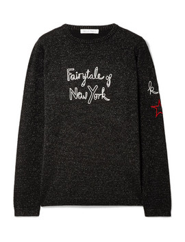 + Kate Moss Fairytale Of New York Embroidered Metallic Wool Blend Sweater by Bella Freud