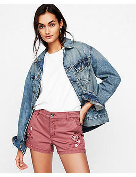 Mid Rise Embroidered Twill Shorts by Express